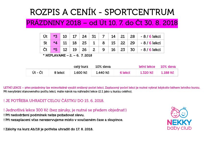SportCentrum prázdniny 2018
