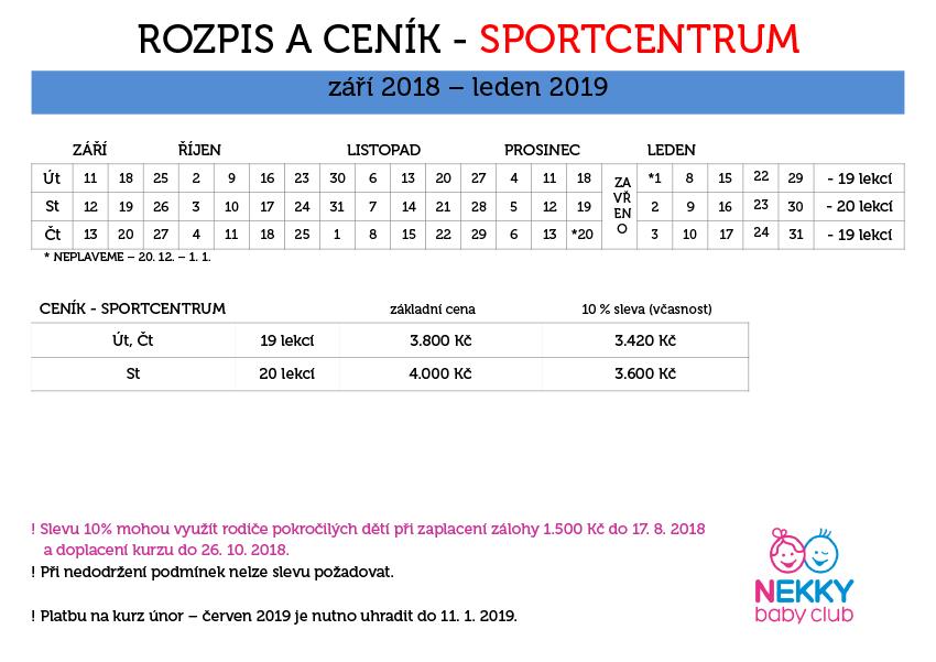 Sportcentrum podzim/zima 2018-2019