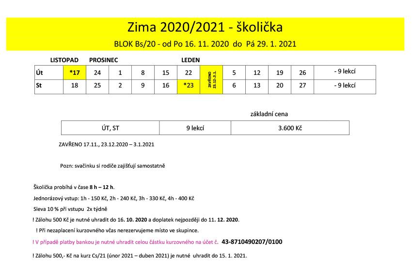 Školička ZIMA 2020/2021