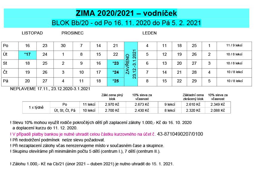 Vodníček ZIMA 2020/2021
